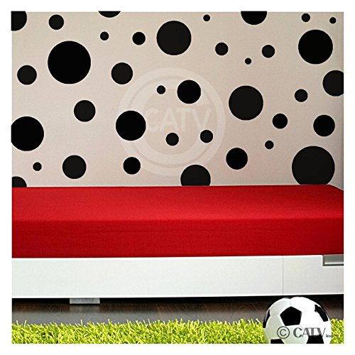 Assorted Vinyl Polka Dots circle wall decals vinyl stickers nursery decor (Black/set of (Vinyl Polka Dots)