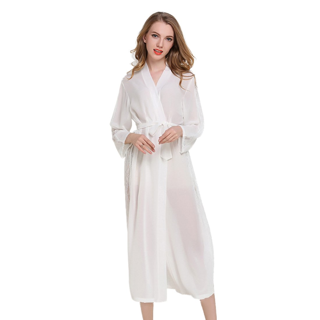 52aba8b0bb JZLPIN Womens Sexy Chiffon Long Kimono Robes - Lightweight Long Sleeve  Bathrobe Lace Trim Sleepwear Black at Amazon Women s Clothing store