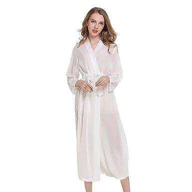 Casa Mujer Vestido Kimono Satén Largo, Kimono Bata de Satén Kimono Del Cordón Robe Albornoz con escote de seda Ropa de dormir Dama de honor de la novia: ...