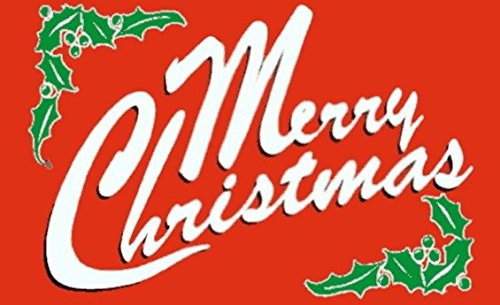 Merry Christmas Red Flag 5ft x 3ft Large - 100% Polyester -