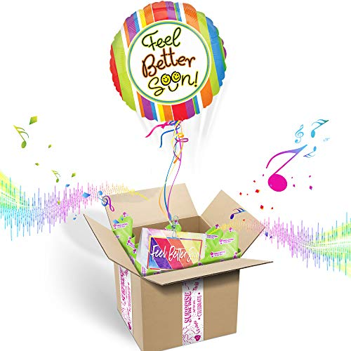 Feel Better Soon Inflated Helium Balloon Care Package | Includes Coordinating Customizable Greeting Card | Pops Out of The Box & Plays A Happy Jingle When -