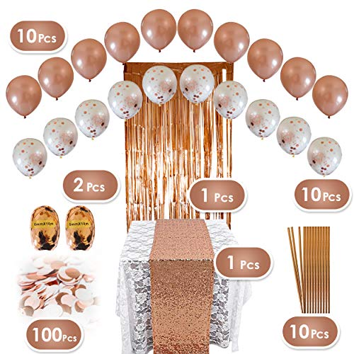 Rose Gold Party Decorations Set - 134 pc Pink and Gold Party Supplies - Perfect Decor for Birthday, Bachelorette Parties, Bridal or Baby Shower]()