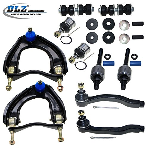 DLZ 12 Pcs Front Suspension Kit-Upper Control Arm Assembly Lower Ball Joint Inner Outer Tie Rod End Sway Bar Shock Bushing Compatible with 1988 1989 1990 1991 Honda Civic CRX K9385 ES2946L EV217