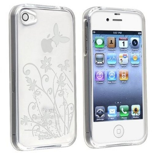 TPU Design Case for iPhone 4 / 4S (AT&T & Verizon) - Clear Flower with Butterfly