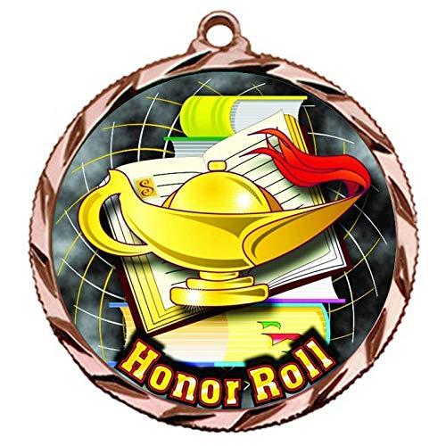 Express Medals ブロンズ3位 名誉ロールメダル 3行のパーソナライズ彫刻とネックリボン賞トロフィー022B