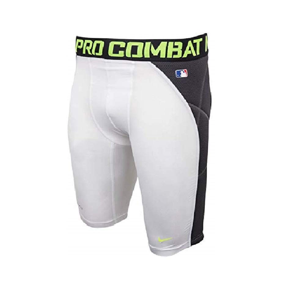 Nike Men's Baseball Heist Slider 1.4 Shorts - White / Black / Volt - 2XL by Nike