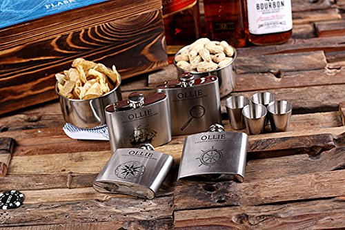 Flasks with Personalized Poker Chips, Cards, Dice Gambling Gift Sets_Explorer_Large