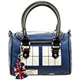 Official TARDIS Mini Satchel and Metal Charm Keychain Shoulder Handbag, Blue