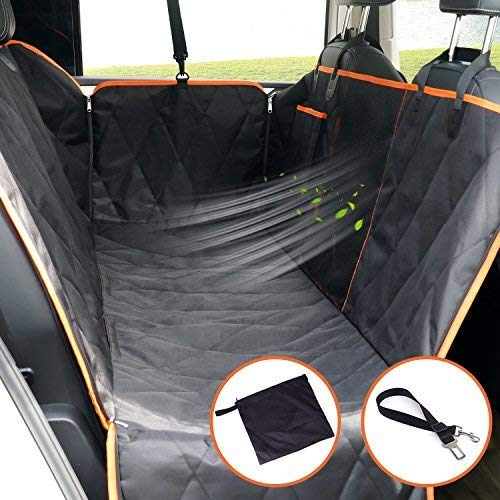 - SUKI&SAMI Dog Seat Cover with Mesh Window Car Seat Cover with Hammock for Back Seat of Cars/Trucks/SUVs, Waterproof & Scratch Proof & Nonslip Backing & Machine Washable (Luxury)