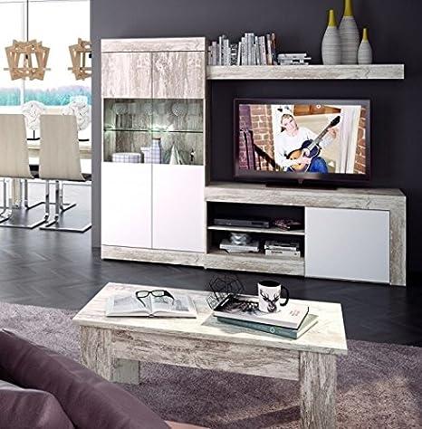 Mobelcenter - Mueble Salón Logan 005-215 x 39,8 x 170,5 Blanco y Vintage (0773)
