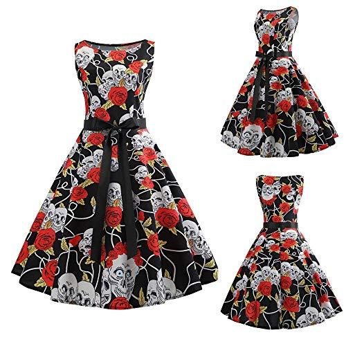 Dimensione Medium Swing A Alta Floral Vintage White2 colore Vestiti Pieghettato Abito Nero Senza Maniche Hepburn Da Vita Fuweiencore Donna gqTaf8