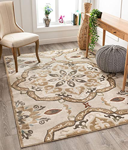 Well Woven Dolly Cream/Beige Traditional Floral Medallion Pattern Area Rug 8x10 (7'10