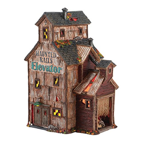 Department 56 Snow Village Halloween Haunted Rails Grain Elevator Lit House, 4.92 inch