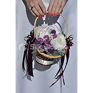 Adorable Ivory Peony and Thistle Flower Girl Basket w/ Sweetpea 8