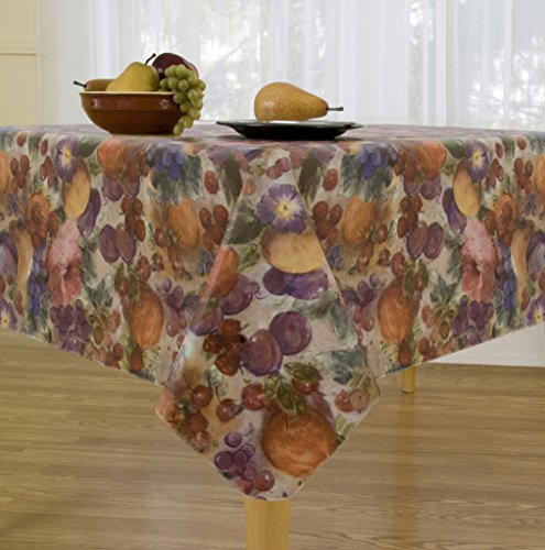 Fruitasia Flannel Backed Vinyl Tablecloth Indoor Outdoor, 60-Inch by 84-Inch Oblong (Rectangle) with Umbrella Hole and Zipper (Oblong Umbrellas Garden)