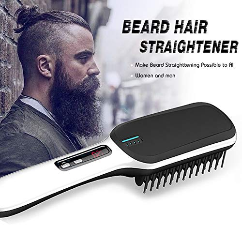 (2019 Ionic Beard Straightener Comb, Electrical Heated Irons Hair Straightening Brush for man and women with Faster Heating, PTC Ceramic Technology, Auto Temperature Lock, Anti Scald (black+white))
