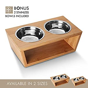 Petlo Elevated Dog and Cat Pet Feeder, Double Bowl Raised Stand Comes with Extra Two Stainless Steel Bowls (Large)