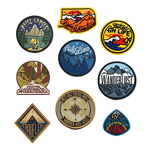 Antrix 9 Pcs Traveler Happy Camper Wanderlust Not All Those Who Wander are Lost Offline is The New Luxury Stoked on Life Life of Adventure Out to Live Craving Wilderness Iron On Sew On Patches