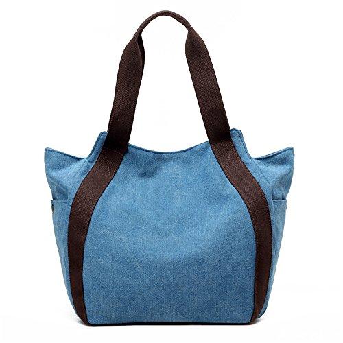 Anne - Bolso de tela para mujer negro gris Azul