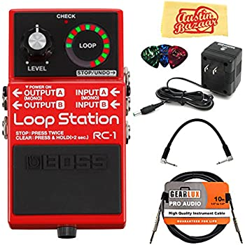 Boss Rc 1 Loop Station Bundle With Power Supply Instrument Cable Patch Cable Picks And Austin Bazaar Polishing Cloth