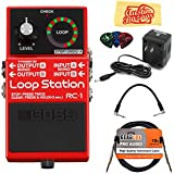 Boss RC-1 Loop Station Guitar Effects Pedal Bundle with 9V Power Adapter, Gearlux Instrument Cable, Patch Cable, Picks, and Polishing Cloth