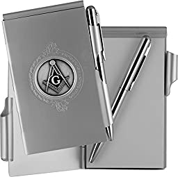 Mason Grand Master Masonic Lodge Freemason Masonry Fraternal Aluminum Memo Pad & Pen Set with Black Commemorative Emblem