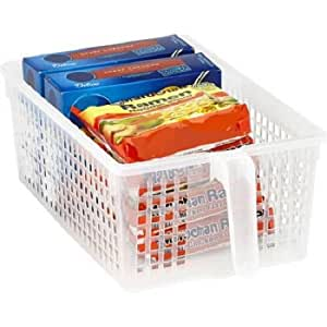 Easy Pull Pantry Organizer Basket with Handle Grip, Medium, WHITE