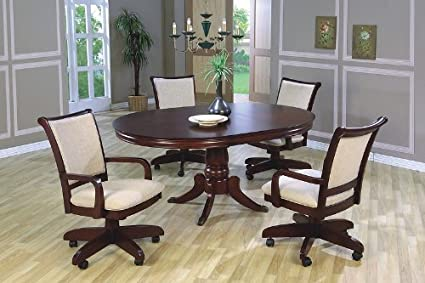 Amazoncom Pcs Traditional Cherry Finish Oval Dining Table - Oval dining table for 4