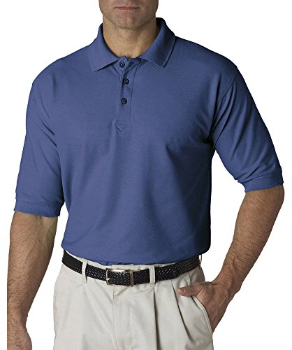 Ultraclub Pique Polo - UltraClub Men's Whisper Fit Pique Polo Shirt, Indigo, X-Large