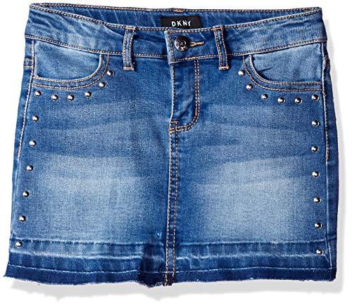 DKNY Girls' Big Hem and Release Denim Skirt, indy Blue 8