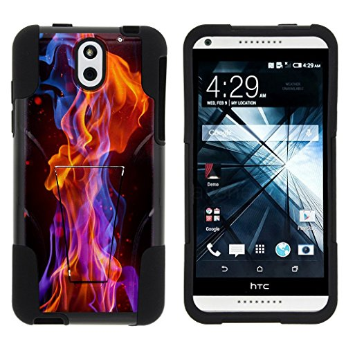 HTC Desire 610 Stand Case, Desire 610 Shell [STRIKE IMPACT] Bumper Shell Case Dual Action Silicone Kickstand Hard Shell by Miniturtle - Flames Light