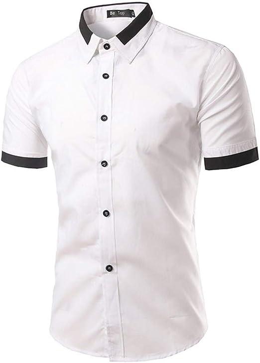 NSSY Camisa de Hombre Camisas de Bolsillo de Verano Hombre Nuevo Negocio Camisa de Color sólido Vestido de Manga Corta de Corte Slim para Hombre, XXL: Amazon.es: Hogar