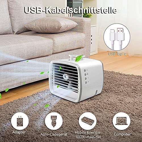 Mini Mobile Klimageräte, 4 In 1 Persönlicher Klimaanlage, Luftbefeuchter Kühlung Ventilator luftkühler Verdunstungskühler, USB Air Conditioner, Air Cooler Klein, Klimagerät Klima Tragbare Büro