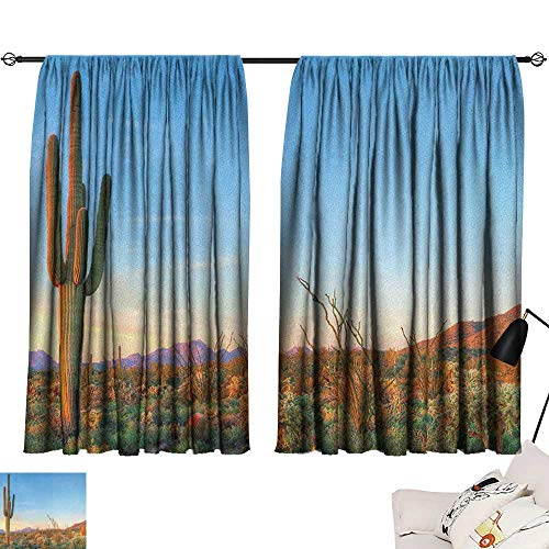 Saguaro livingroom Darkening Curtains Sun Goes Down in Desert Prickly Pear Cactus Southwest Texas National Park Room/Bedroom Orange Blue Green W84 x L72