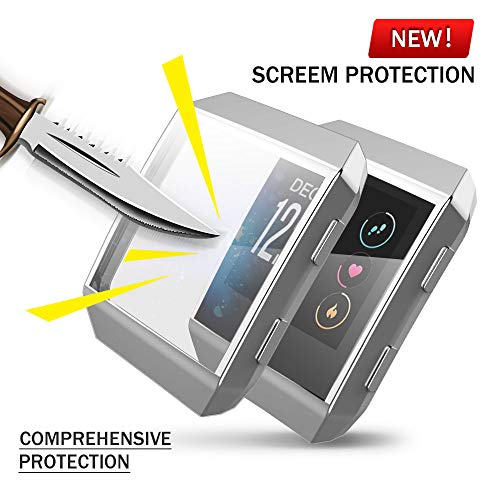 Fitbit Ionic Screen Protector Case, JZK Scratch-Resistant Flexible Lightweight Plated TPU Fullbody Protective Case for Fitbit Ionic Smart Watch Accessories(Silver)