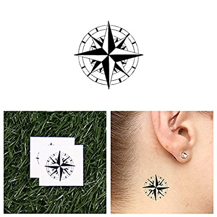 Tatuaje Temporal Tattify - Brújula marina - Estrella del norte (juego de 2)