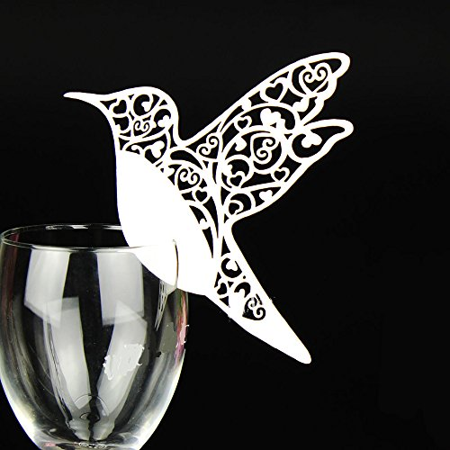 LNKEY 50 x Pearly white bird on wineglass shimmer name card place cards table number decorations for baptism communion wedding birthday party or other various occasions (Bird)