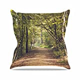 Kess InHouse Ann Barnes Forest Light Nature Photography Trees Green Outdoor Throw Pillow, 18'' x 18''