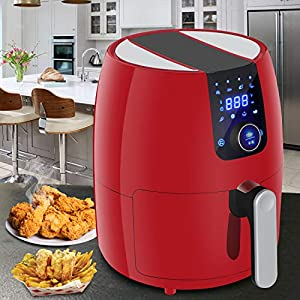 SUPER DEAL PRO 8-in-1 Electric Air Fryer 3.7 Quart Programmable Digital Touchscreen w/Recipe Book, Dishwasher Safe Parts…