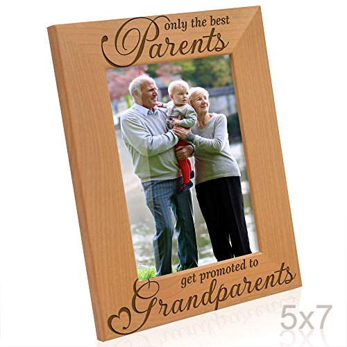 Kate Posh - Only the Best Parents get Promoted to Grandparents Picture Frame - Engraved Natural Wood Photo Frame - Grandma Gifts, Grandpa Gifts, Christmas Gifts for Grandparents (5x7-Vertical)