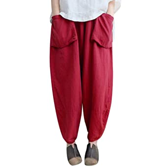 2a283ae62a1c AMUSTER Haremshose Damen Große Größen Damen Haremshose Elegant Pumphose  Lange Leinen Hose mit Tasche Aladin Pants Lose Vintage Ethnic Plus Size  Hosen  ...