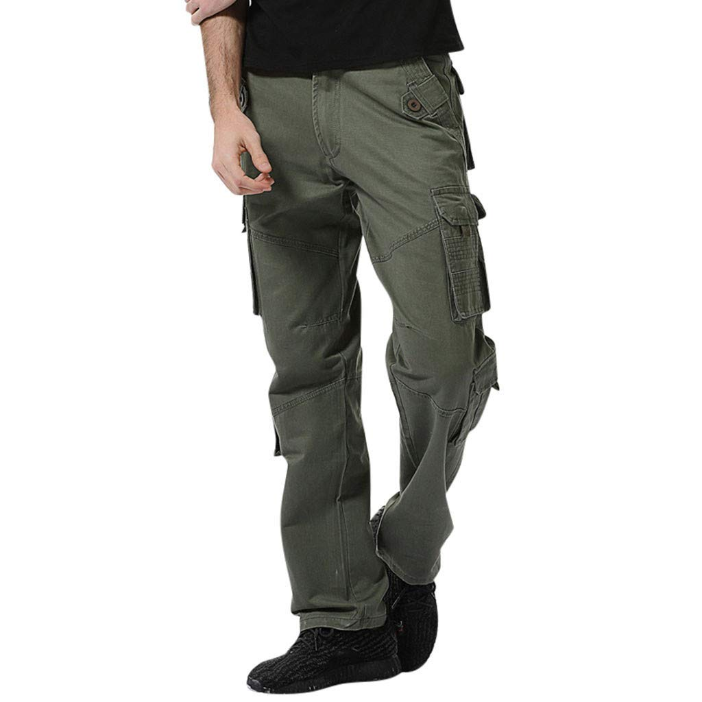 Alueeu Men's Tactical Pants Climbing Pockets Sweatpants Men's Casual Pure Color Outdoors Pocket Work Trouser Cargo Pant Army Green by Alueeu Men's
