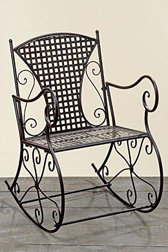 Schaukelstuhl Konya aus Metall braun Schwingsessel Metallstuhl