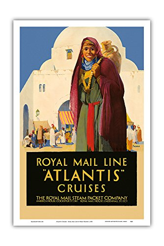 Pacifica Island Art Atlantis Cruises - Royal Mail Line - The Royal Mail Steam Packet Company - Vintage Ocean Liner Travel Poster by Percy Padden c.1930 - Master Art Print - 12in x 18in