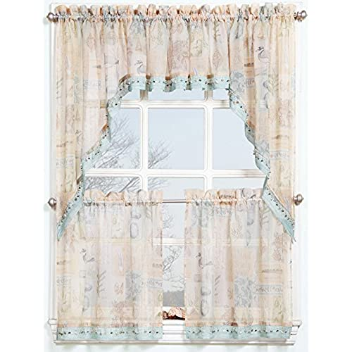 918 Seascape Kitchen Curtain Tier Pair 56 X 24 Ocean Blue