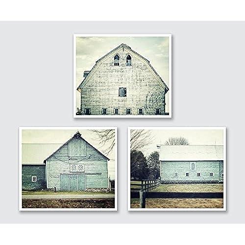 Aqua Farmhouse Barn Print Set   Discount   Set Of 3 Teal Barn Prints    Rustic Home Decor   Shabby Chic Barn Art