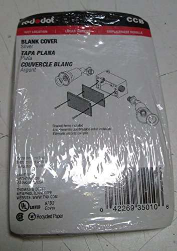 Thomas & Betts CCB Stamped Aluminum 1-Gang Weatherproof Blank Cover 2-13/16 Inch x 4-9/16 Inch Red Dot