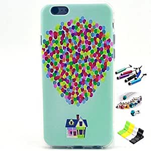 QJM Balloon Pattern with Stylus ,Anti-Dust Plug and Stand TPU Soft Case for iPhone 6