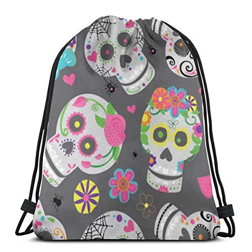 """Sweet Sugar Skulls 3D Print Drawstring Backpack Rucksack Shoulder Bags Gym Bag For Adult 16.9""""X14"""""""