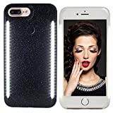 VANJUNN Selfie LED Light Case for iPhone 6 Plus / 6s Plus / 7 Plus / 8 Plus - Selfie Light Case for iPhone 6 Plus 7 Plus 8 Plus Cell Phone with Front and Back LED Rechargeable Backup Powder Black